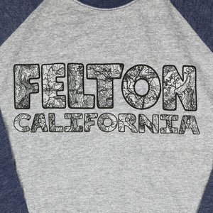 """Felton USGS"" 3/4 Sleeve Unisex Raglan Tee by Redwood Clothing Company"