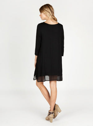 3/4 Sleeve Basic Knit Dress with Chiffon Hem