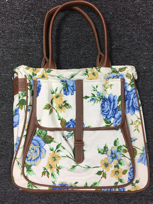 Louise Big Pocket Canvas Tote In Floral Blue By Fredd & Basha