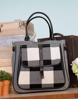 Black & White Stripe Louise Big Pocket Canvas Tote  By Fredd & Basha
