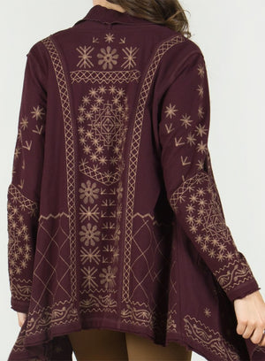 Raw Edge Asymmetrical Embroidered Long Sleeve Cardigan