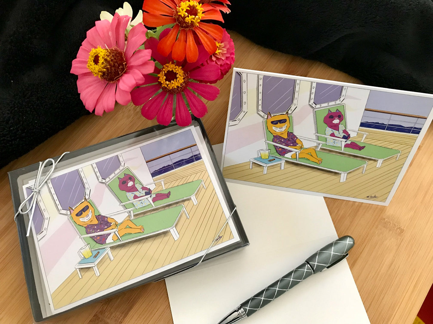 Cruise Cats Notecards and Bundles - Signed