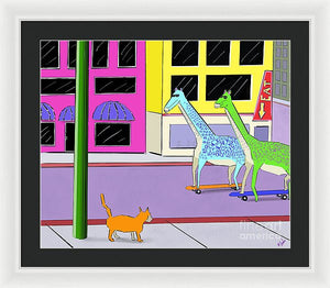 There Were Two Giraffes - Framed Print