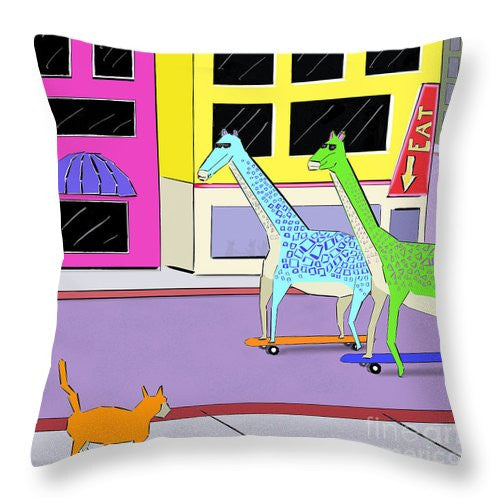 There Were Two Giraffes - Throw Pillow