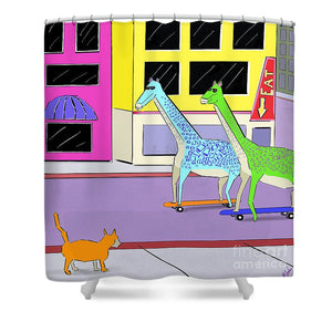 There Were Two Giraffes - Shower Curtain