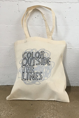 Color Outside The Lines Canvas Tote Bag, Silver