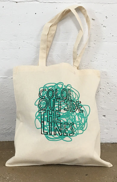 Copy of Color Outside The Lines Canvas Tote Bag, Turquoise