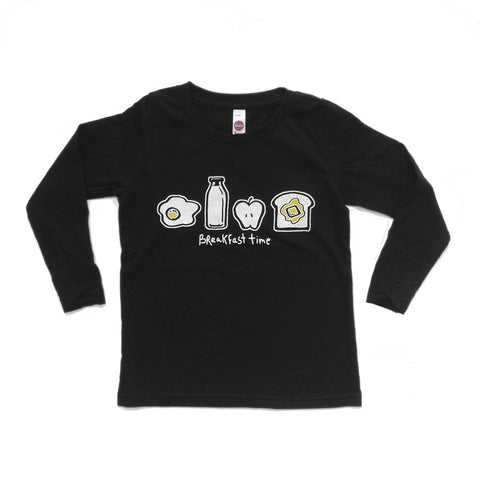 Breakfast Time -  long sleeve (white/black) - moozega  - 1