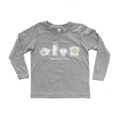 Breakfast Time -  long sleeve (white/heather grey) - moozega  - 1