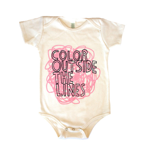 Color Outside The Lines Infant One Piece - Organic (pink/natural) - moozega