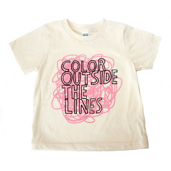 Color Outside The Lines Toddler T Shirt -  Organic (pink/natural) - moozega  - 1