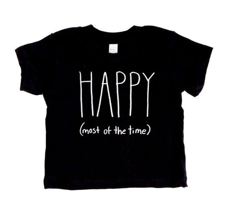 Happy (most of the time) Short Sleeve T Shirt (white/black) - moozega  - 1