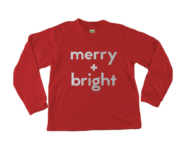 Merry + Bright Long Sleeve Tee (Silver/Red) - Limited Edition - moozega  - 1