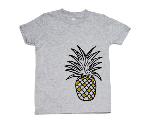 Pineapple Short Sleeve T Shirt (Heather Grey) - moozega