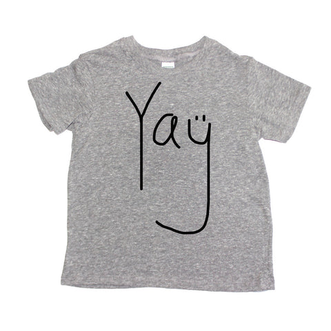 Yay Toddler + Baby T Shirt - Eco Triblend  (black/heather grey) - moozega