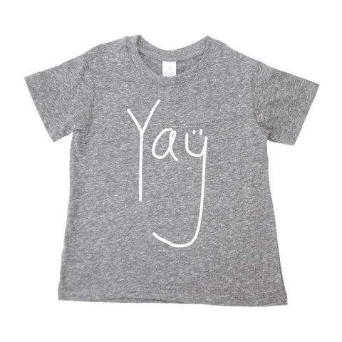Yay Toddler + Baby T Shirt - Eco Triblend  (white/heather grey) - moozega  - 1