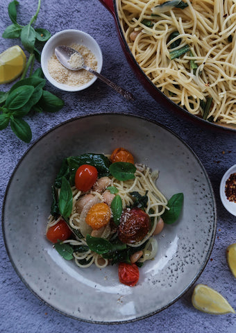 Butter Bean & Silverbeet Pasta with Balsamic Roasted Tomatoes