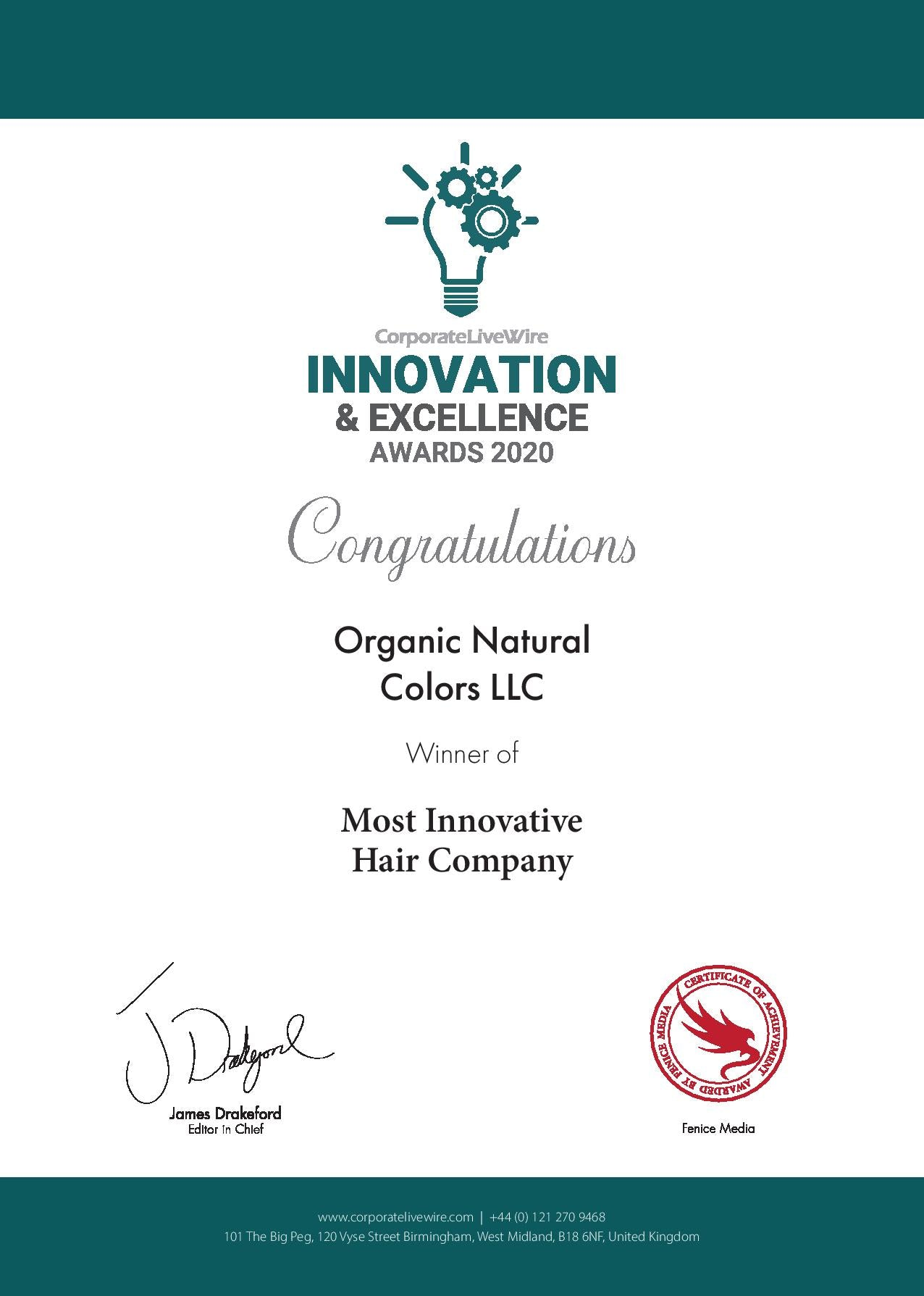 Organic Natural Colors LLC Innovation and Excellence Awards 2020 Certificate