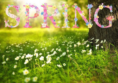 Spring It On! Spring scene illustration with flowers at the foot of a tree