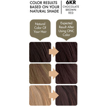 Load image into Gallery viewer, ONC 6KR Chocolate Brown Red Hair Dye With Organic Ingredients 120 mL / 4 fl. oz. Color Results