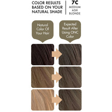 Load image into Gallery viewer, ONC 7C Medium Ash Blonde Hair Dye With Organic Ingredients 120 mL / 4 fl. oz. Color Results