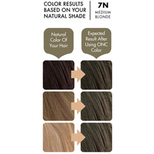 Load image into Gallery viewer, ONC 7N Natural Medium Blonde Hair Dye With Organic Ingredients 120 mL / 4 fl. oz. Color Results