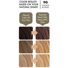 Load image into Gallery viewer, ONC 9G Golden Blonde Hair Dye With Organic Ingredients 120 mL / 4 fl. oz. Color Results