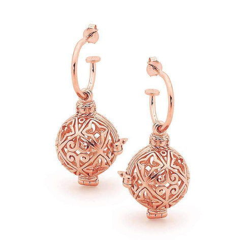 Rose Gold Earrings, Enchanted Perfumed Jewelry