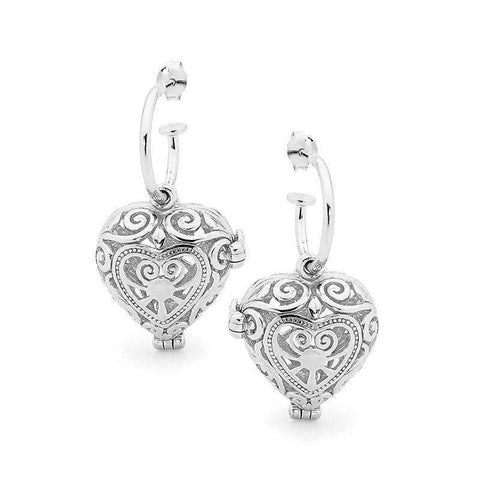 Silver Heart Earrings, Passion Perfumed Jewelry