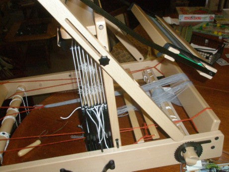photo shows beater moved to the back of loom allowing  easy threading of the heddles