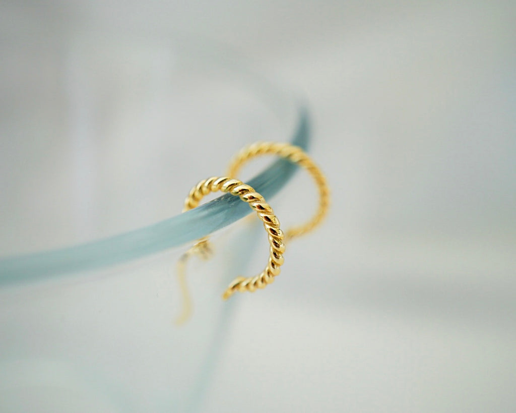 Small Twisted Huggie Hoops