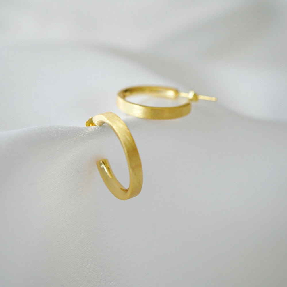 Brushed Gold Medium Hoops