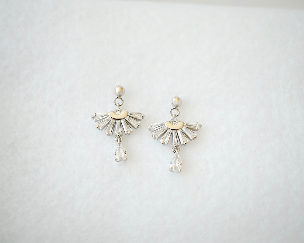 Silver Fan Drop Earrings