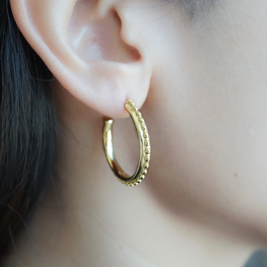 Thick Beaded Gold Hoops