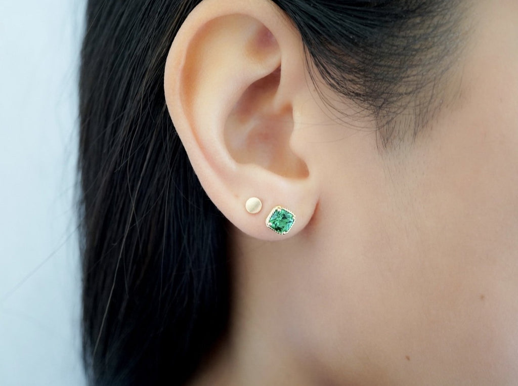 Emerald Vintage Stud Earrings