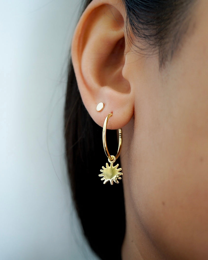 Thin Sun Charmed Hoops