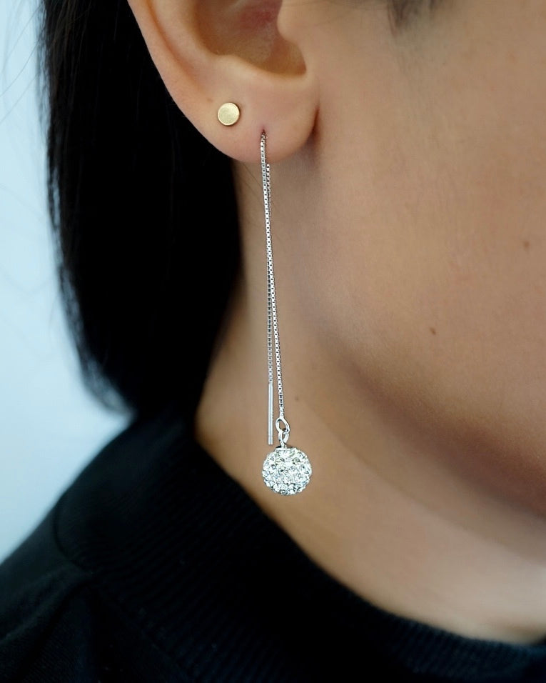 Crystal Ball Long Earrings