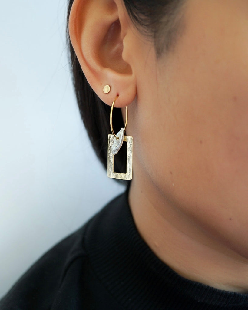Thin Charmed Hoops