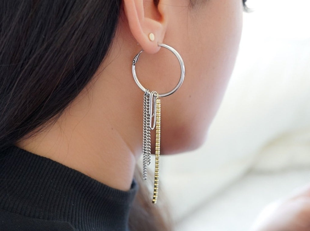 Two-tone Tassel Hoops