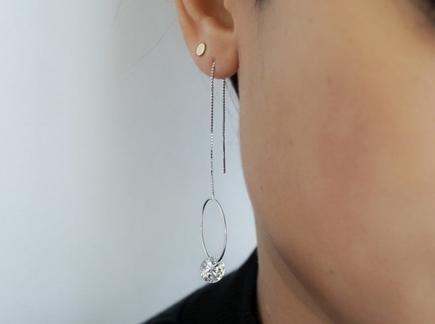 Circle Diamond Long Threader Earrings
