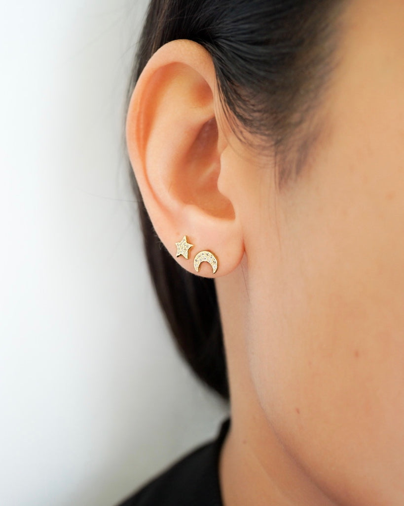 Crescent and Star Stud Earrings