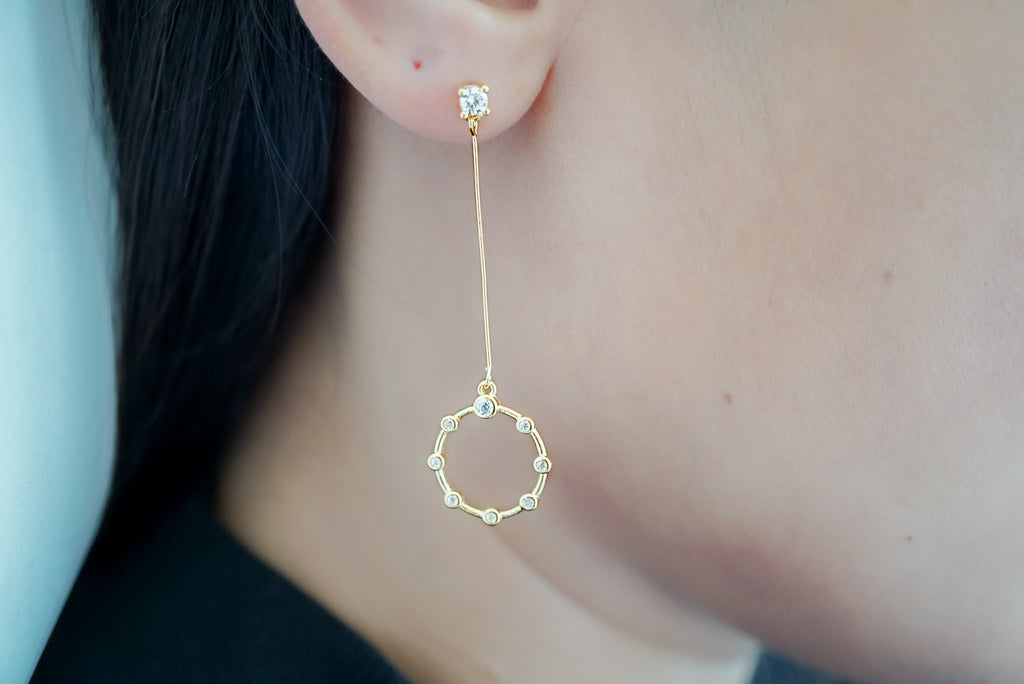 Long Drop Circle Earrings