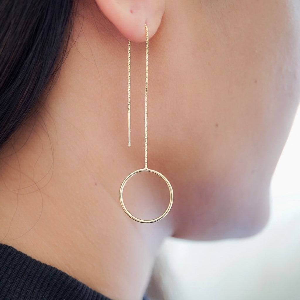 Circle Long Threader Earrings