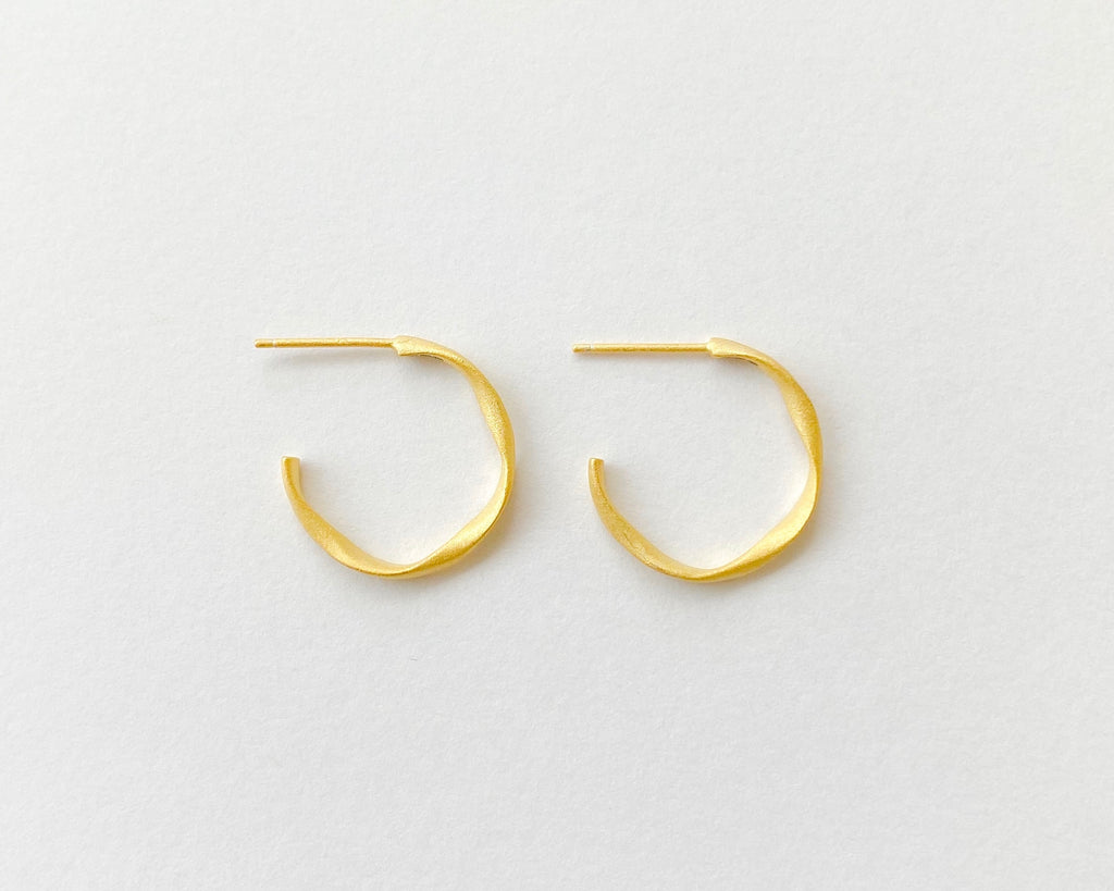 Minimalist Brush Gold Hoops