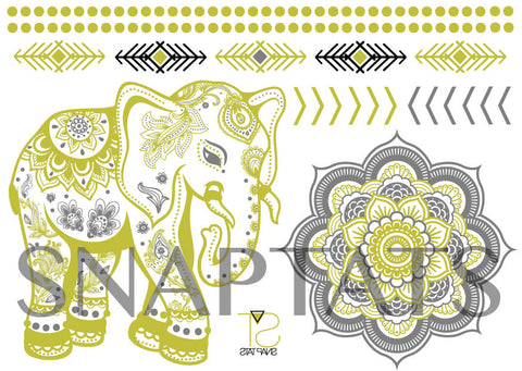 Mini Elephant Gold & Silver (1 Sheet)