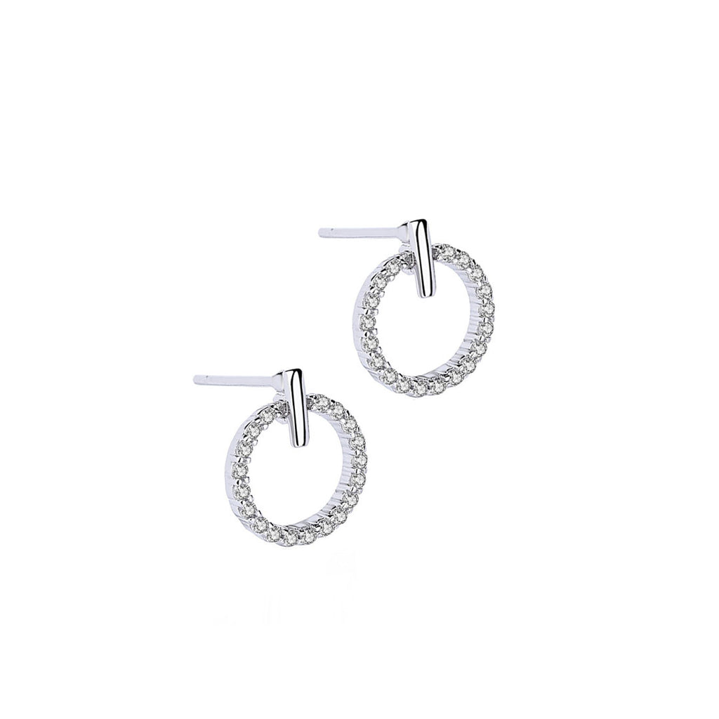 Small Pave Circle Earrings