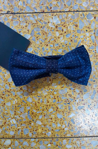 Blue Polka Dot Denim Bowtie