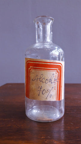 Vintage Glass Apothecary Alcohol Bottle