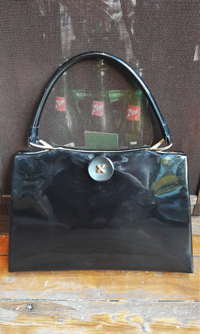 1960s Black Patent Handbag