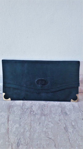 Vintage Navy Blue Leather Day Clutch